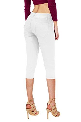 Women's Perfectly Shaping Stretchy Denim CapriQ19411 White (White Capri Jeans)
