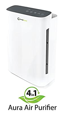 InvisiClean Aura 4 in 1 Air Purifier with True HEPA Filter, Carbon Prefilter, UV-C, and Ionizer. Timer, Sleep Mode, and 4 Fan Speeds - Slim Design and Lightweight - For Medium to Large Size Rooms