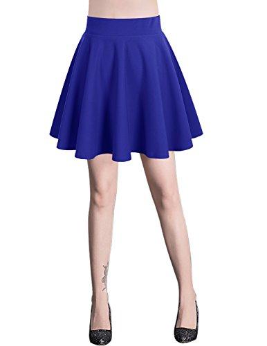 Bridesmay Jupe Patineuse Courte Mini en Polyester Plisse Royal Blue