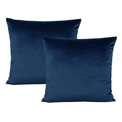 Dark Blue Velvet Throw Pillow Covers Decorative Cozy Soft Solid Color Square Cushion Cases Home Decor for Couch Sofa Bedroom Car 18x18 Inch Set of 2