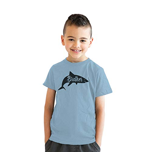 (Youth Brother Shark Tshirt Funny Beach Summer Vacation Family Tee for Kids (Light Blue) - S)