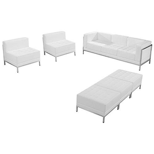 Flash Furniture HERCULES Imagination Series Melrose White Leather Sofa, Chair & Ottoman Set