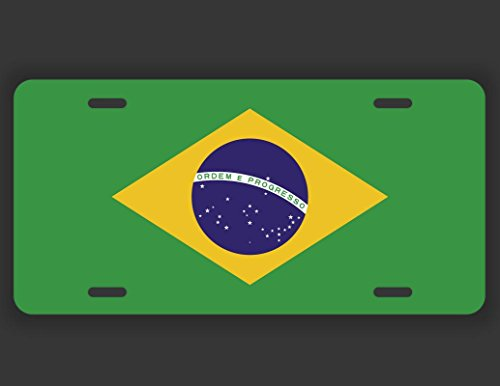 (Decals Home Decor & More Brazil Flag License Plate Tag Vanity Novelty Metal | UV Printed Metal | 6-Inches By 12-Inches | Car Truck RV Trailer Wall Shop Man Cave | VLP106)