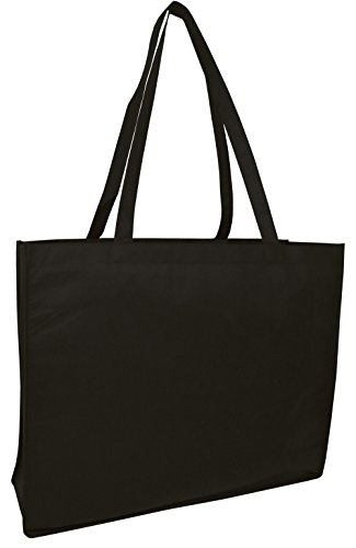 Set of 12- Eco-Friendly Reusable Non Woven Extra Large Tote Bag (Black)