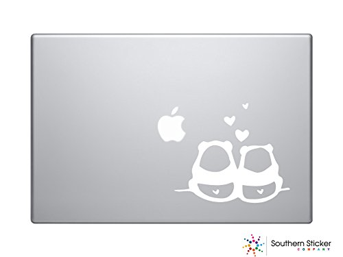 Two Pandas (Two Pandas in Love Text Silhouette Macbook Symbol Iphone Apple Ipad Decal Skin Sticker Laptop (White))