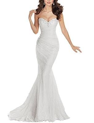 JYDress Women's Sweetheart Beaded Pleat Lace Wedding Dress Mermaid Bridal Gown