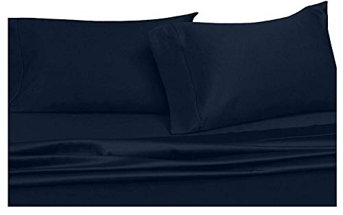 Wamsutta Daily Delight Linen 625-Thread Count 100% Egyptian Cotton 15 Inch Drop Length Full Sheet Set in Navy Blue (Wamsutta Sheets Full)