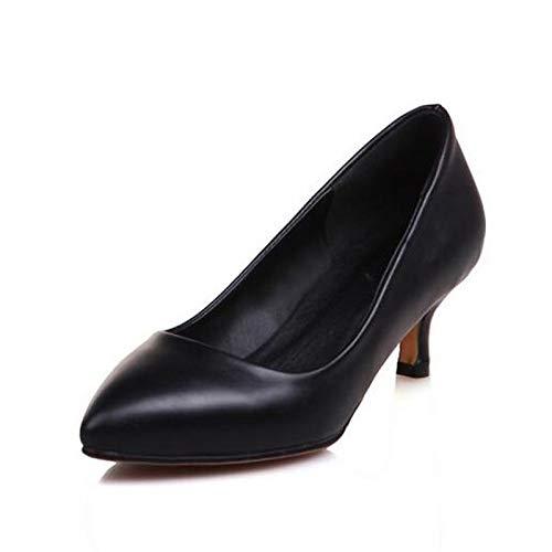Heel Black Women's PU Polyurethane Red White Heels ZHZNVX Stiletto Comfort Spring Shoes Red 8qdaESnv