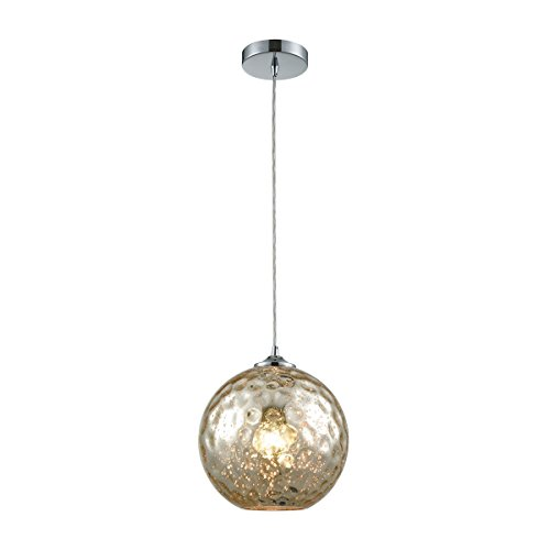 Watersphere 1 Light Pendant (Watersphere 1 Light Pendant In Polished Chrome With Mercury Hammered Glass - Includes Recessed Lighting Kit)