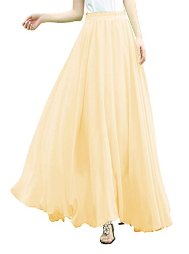 v28 Women Ladies Full/Ankle Length Elastic Retro Maxi Chiffon Long Skirt