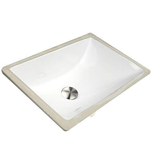Nantucket Sinks UM-16x11-W 16-Inch by 11-Inch Rectangle Ceramic Undermount Vanity, White