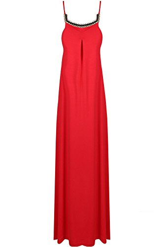 Be Jealous femmes femmes sans manches fin Camisole à lanières Collier chaîne bordure SWING fête Long Maxi robe été UK grande taille 8-26 - Rouge, Plus Size (UK 16/18)