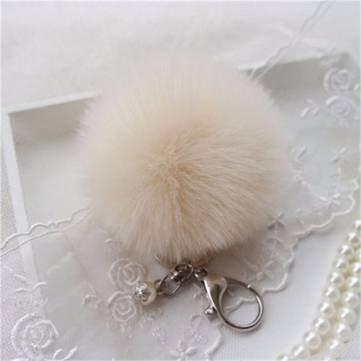 03b626af76 Generic Car Keychain Pendant Cute Soft Faux Rabbit Fur Ball Handbag Charm  Keyring Pom-Beige  Amazon.in  Car   Motorbike