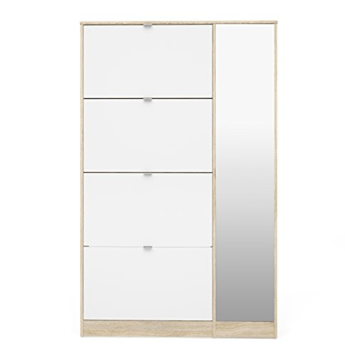 Tvilum 41061akuu Bright Shoe Cabinet with with 4 Flap & 1 Mirror Door, Oak Structure/White High Gloss (Shoes Cabinet Mirror)