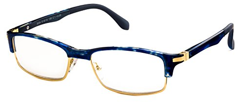 Specs Blue Tortoise Reading Glasses - Extra Sturdy Build - Faces For Reading Small Glasses