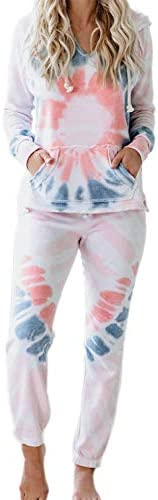 Fixmatti Women 2 Piece Tie Dye Sweatsuit Pullover Shirts and Drawstring Sweatpants Set