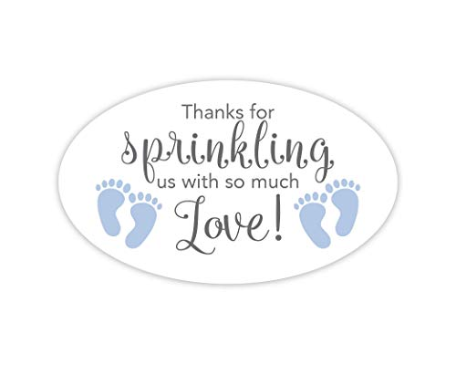 (Oval Baby Shower Stickers, Thanks for Showering us, Girl Boy and Gender Neutral Shower Stickers (#681-2-BG-OV))