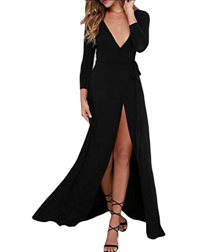 Howme-femmes Balancer V Cou Diviser L'hiver Banquet Sexy Robe Pleine Longueur Noir