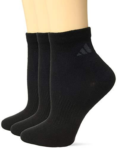 adidas Women's Cushioned Quarter Socks (3-Pack), Black, One Size