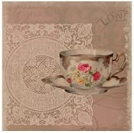 Heritage Lace Downton Abbey Downton Tea Postmark Wall Art 14.5 by 14.5-Inch Natural
