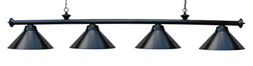 Billiard Lamp Choose Burgundy or Black Metal Shades (Black) ()