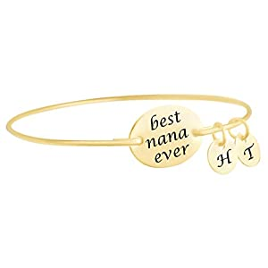 AFFY Initial Letter Customize 18ct Gold Over Sterling Silver Best Nana Ever Bangle Bracelet