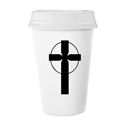 Religion Christianity Belief Church Black Circle Holy Cross Culture Design Art Illustration Pattern Classic Mug White Pottery Ceramic Cup Milk Coffee Cup 350 ml by DIYthinker