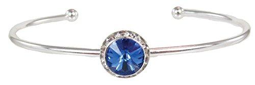 Stackable Swarovski Crystal Cuff Birthstone Bracelet, September - Sapphire