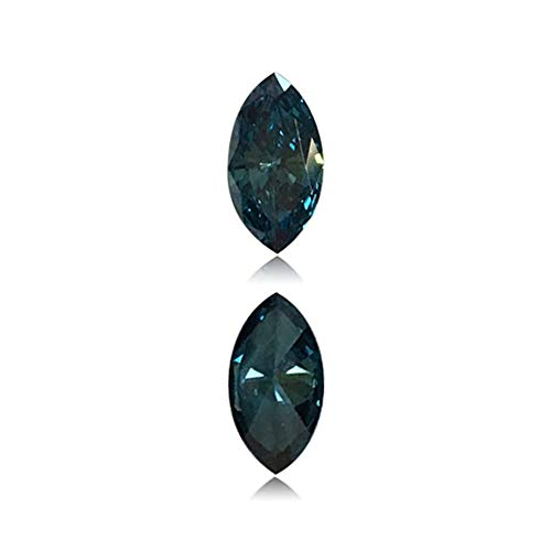 Mysticdrop 0.18 Cts of 3.1x5.7x1.8 mm SI1 Marquise Cut Teal Blue Diamond (1 pc) Loose Color Diamond
