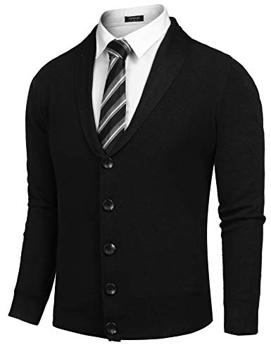 COOFANDY Men's Long Sleeve Shawl Collar Cardigan Sweater Slim Fit Casual Button Down Knitted Cardigan Overcoat by COOFANDY (Image #2)