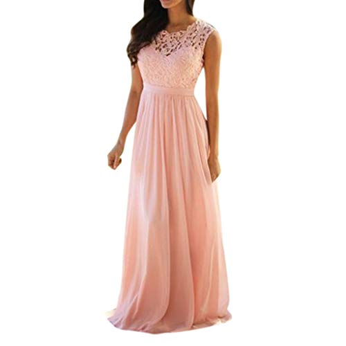 Euone Womans Shirts Clearances, Women Lace Applique Elegant Coral Bridesmaid Dresses Wedding Guest Dress