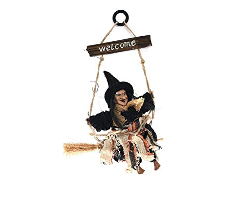 (meilushangmaoyouxiangongsi Hanging Witch Halloween Haunted House Prop Decor Perfect Outdoor Decoration )