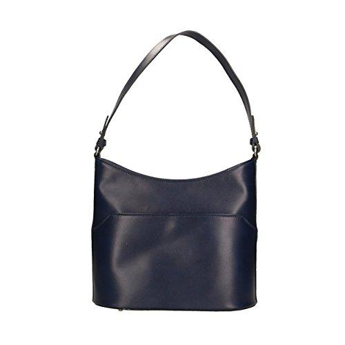 en Bag Cm Marine véritable 27x22x12 épaule Shoulder cuir pour in Femme Bleu Italy Sac Made Porté Aren Fq0w6x