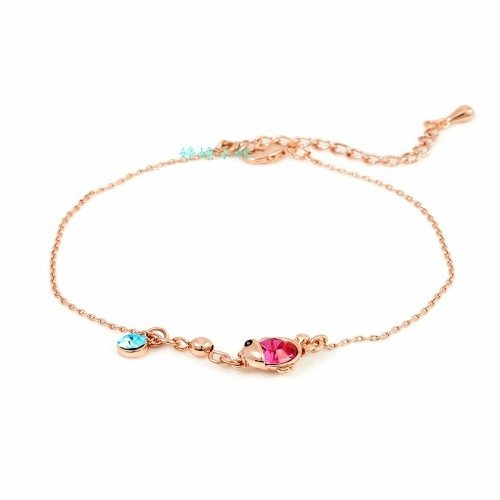 - TKHNE Wei Ni Hua Bela genuine inlaid gold crystal fish Foot Chain anklet foot fashion sweet ring