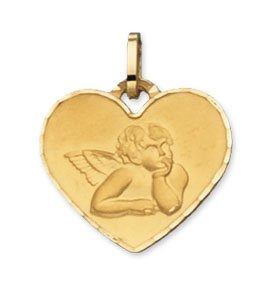 Diamantly - Médaille coeur Ange Entourage Diamanté - or 375/1000 (9 Carats) - Unisex - Enfant -Bebe-Adulte