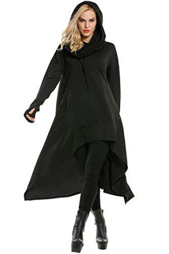 SE MIU Women's High Low String Hoodie Thumb Holes Loose Sweatshirts Dress With Pockets,Black,X-Large ()