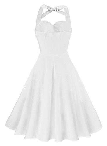 Anni Coco Women's Marilyn Monroe 1950s Vintage Halter Swing Tea Dresses Creamy White Large