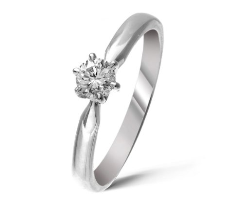 Certified Attractive 9 ct White Gold Women Solitaire Engagement Diamond Ring Brilliant Cut 0.25 Carat IJ-I2