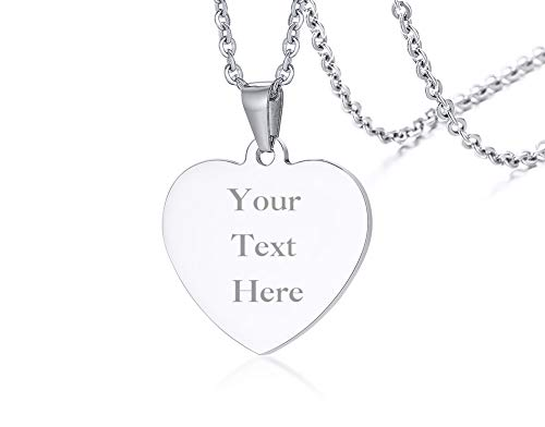 - PJ Jewelry Personalized Engravable Heart-Shaped Tag Pendant Customized Date Nameplate Necklace,Bridal Shower Gift