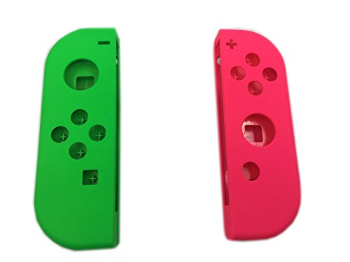 Pink Faceplate Cover - Hisonders Full Housing Faceplate Handle Shells Case Cover & Battery Middle Plate Frame Replacement for Nintendo Switch NS Controllers Joy-Cons(Pink+Green)