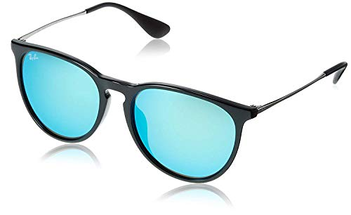 Ray-Ban RB4171F Erika Round Asian Fit Sunglasses, Black/Blue Mirror, 57 mm (Asian Fit)