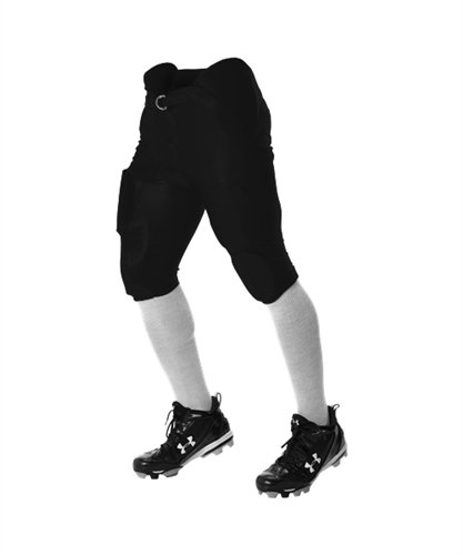 Alleson Youth Lightweight Integrated Football Pants - Black - X-Large