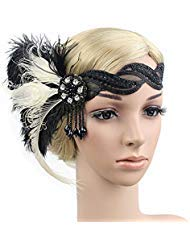 Flapper Girl Black Ivory Ostrich Feather Headpiece Lace Transparent 1920s Gatsby Flapper Headbands Vintage Hair Accessories