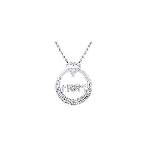 The Diamond Deal Sterling Silver Womens Round Diamond Mom Mother Circle Heart Pendant 1/20 Cttw