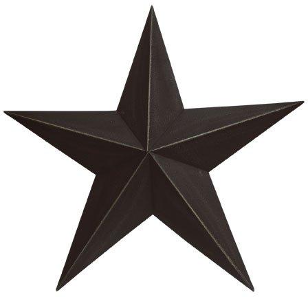 Large Dimensional Steel Metal Barn Star, 24-inch, Black Textured Matte Finish (Stars Metal Large)