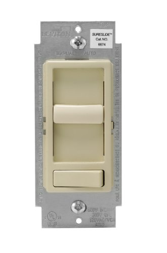 Leviton 6674-P0I SureSlide Universal 150-Watt LED and CFL/600-Watt Incandescent Dimmer, Ivory ()