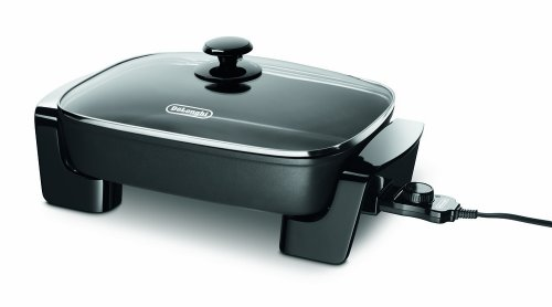 De'Longhi BG45 Electric Skillet with with Glass Lid, 16' x 12', Black