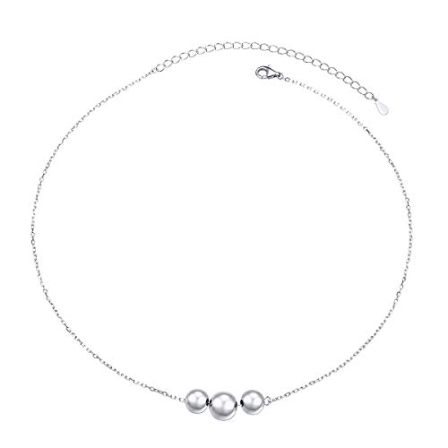 S925 Sterling Silver 3 Beads Dot Choker Short Dainty Necklace Pendant for Women Girl (Short Bead Necklaces)