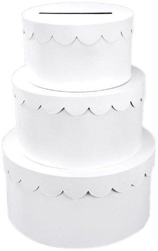 Darice 2849-57, 3-Stacked Primed Paper Mache Cake Box, White by Darice