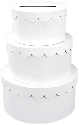 White Paper Mache - Darice 2849-57, 3-Stacked Primed Paper Mache Cake Box, White